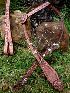 BRIDLE WESTERN LEATHER HEADSTALL PINK CRYSTALS BLING