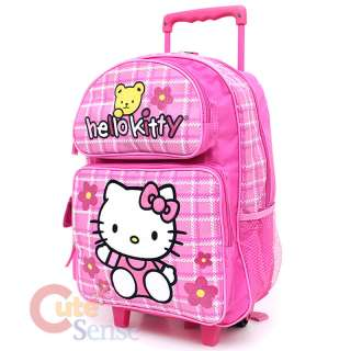 Kitty Large School Roller Backpack Lunch Bag Pink Teddy Bear 2