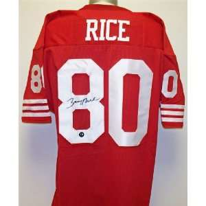 Jerry Rice Autographed Jersey   Red Custom Throwback with RICE