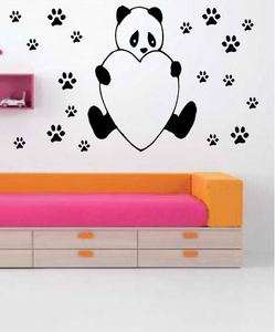 CUTE PANDA TEDDY BEAR + PAWS ANIMAL WALL STICKER DECAL