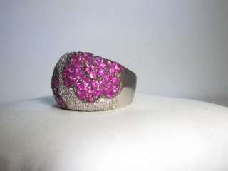 18K White Gold Pave .75ct Diamond 2CT Pink Sapphire Flower Design Ring