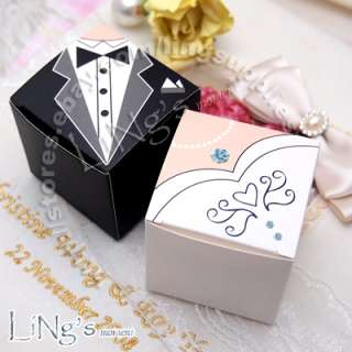 Bride & Groom Dress Tuxedo Decoration Favor Gift Candy Box Wedding