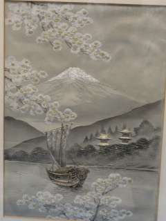 ANTIQUE JAPANESE SILK EMBROIDERY MT. FUJI * 12 x 8.5
