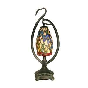 San Antonio Accent Lamp, Antique Bronze and Art Glass Shade Home