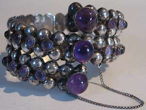 GREAT 1940S VINTAGE MEXICO STERLING SILVER AMETHYST BRACELET