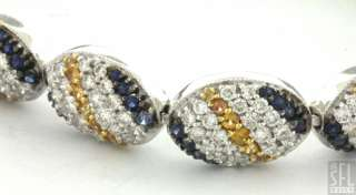 HEAVY 18K WHITE GOLD 11.57CTW VS1/F DIAMOND/YELLOW & BLUE SAPPHIRE
