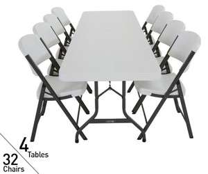 Tables, 32 Chairs   Lifetime 8 Ft Commercial Folding Tables & Chairs