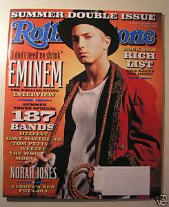 ROLLING STONE MAGAZINE JULY 4 11,2002 EMINEM NORA JONES