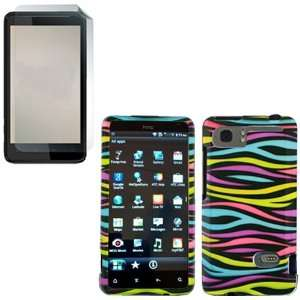iFase Brand HTC Holiday Combo Rainbow Zebra Protective Case Faceplate