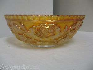 Vintage IMPERIAL Open Rose Carnival Glass Marigold BOWL