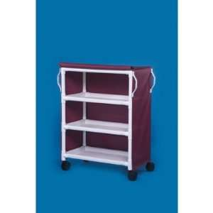 Deluxe 3 Shelf Linen Cart Spacing Size 16, Mesh Cover