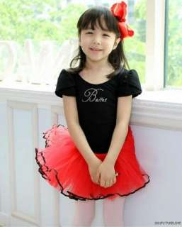 Girl Black/Red Party Ballet Tutu Skirt Dance Dress 3 8Y