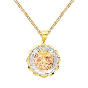 Baptism Charm Pendant with Tri color Gold 1.5mm Valentino Diamond Cut