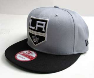 LA Kings Grey On Black with Silver Tone Snap Back Cap Hat By New Era