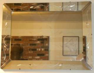 Huge Art Deco Pier Mirror Cattail Mirrored Frame 1930