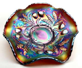 STRAWBERRY by NORTHWOOD ~ AMETHYST CARNIVAL GLASS BERRY BOWL ~ MINT