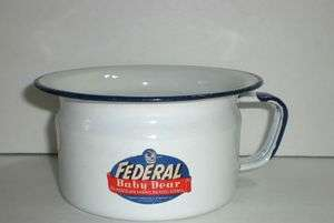 FEDERAL BABY DEAR BLUE & WHITE GRANITEWARE POTTY W/ORIGINAL LABEL