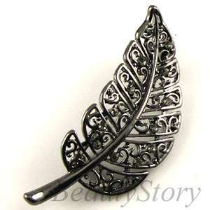 SHIPPING Austrian rhinestone crystal antiqued leave brooch pin