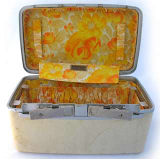 VINTAGE SAMSONITE Cream MAKEUP HARD CASE BAG Train Luggage YELLOW