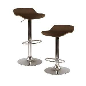 Kallie set of 2 Air Lift Adjustable Stool, Natural Wood Veneer Top and