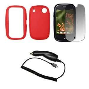 com Premium Red Soft Silicone Gel Skin Cover Case + Crystal Clear LCD
