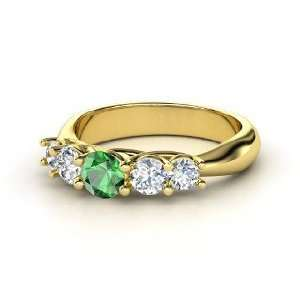 Oh La Lovely Ring, Round Emerald 14K Yellow Gold Ring with Diamond
