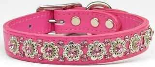 Fancy Jeweled Flower Pink Leather Pet Dog Collar