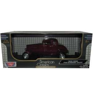 1932 Ford Five Window Coupe Burgundy 1/18 Diecast Model