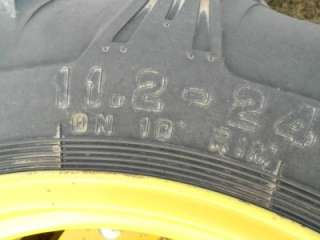 NOS JOHN DEERE COMPACT TRACTOR REAR WHEELS AND TIRES 11.2 24 ON 10