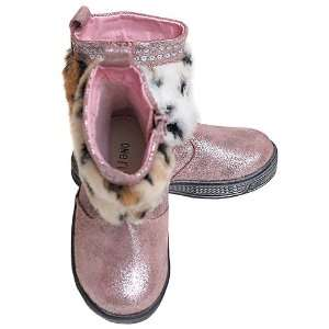 One Ruby Lane Toddler Girls Pink Faux Fur Glitter Zipper