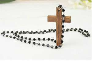 Japan Korean Style Wooden Cross Pearl Necklace