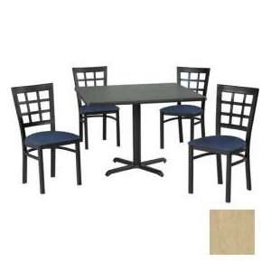 Square Table & Window Pane Back Chair Set, Maple Fusion Laminate Table