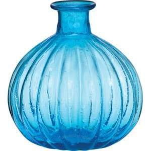 Turquoise Blue Recycled Glass Vase (ribbed design)