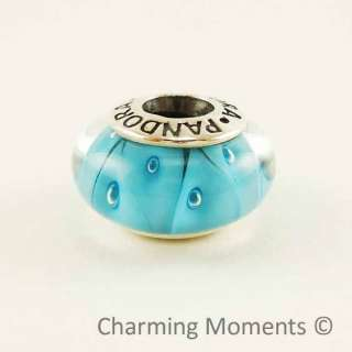 New Authentic Pandora Murano Glass Charm Turquoise Looking Glass