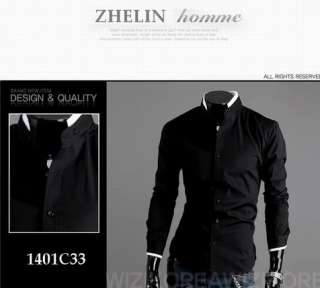 Stylish Casual Dress Slim Fit Shirts White,Black and 4 size C33