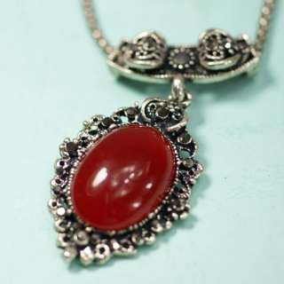 Unique Red Oval Tibet Silver Womens Gemstone Pendant Necklace Jewelry