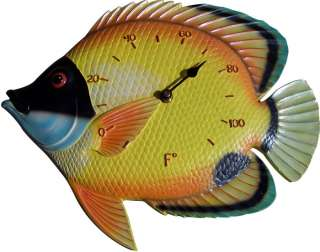 New Indoor   Outdoor Tropical Fish Clock or Thermometer