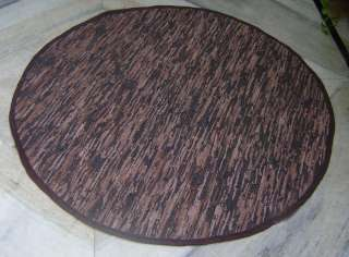 Flat Leather WEAVE area Rug 49Round DARK BROWN multi