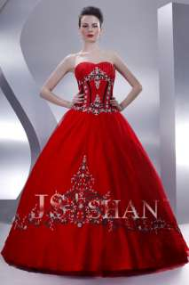 JSSHAN Red Ball Formal Prom Princess Gown Evening Dress
