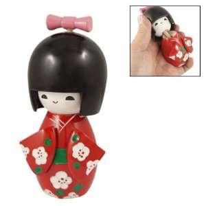 Amico Wooden Toy Pink Bow Tie Smiling Girl Kokeshi Doll Toy