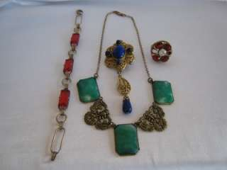 Jewelry Lot Drop Brooch, Lrg Ring, Red Stones Bracelet Green Necklace
