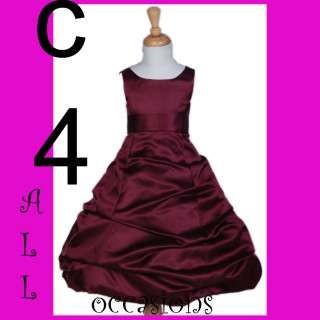 FLOWER GIRL DRESS BURGUNDY RED WINE 4 5 6 8 10 12 13 14