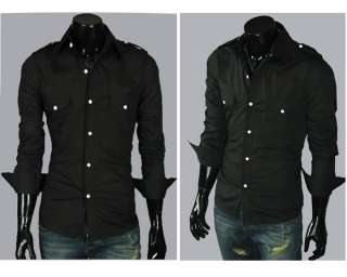 Fashion Luxury Stylish Casual Dress Slim Shirts 2 Colour BLACK,GREY