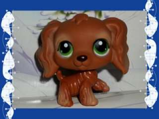 Chocolate Brown Cocker Spaniel Dog LPS #252 Green Eyes Retired