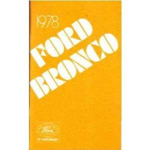 1978 FORD BRONCO Owners Manual User Guide Automotive