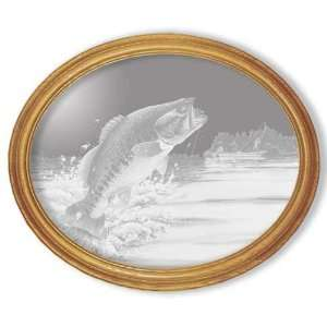 Etched Mirror Jumping Bass Fish Art in Solid Oak Frame