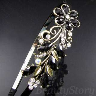 ADDL Item  antiqued rhinestone crystal flower hair band