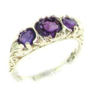 Luxury Ladies Solid White Gold Natural Amethyst Victorian Trilogy Ring