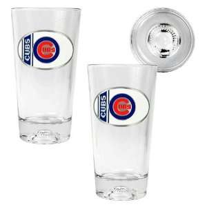 Chicago Cubs MLB 2pc Pint Ale Glass Set with Baseball Bottom   Oval
