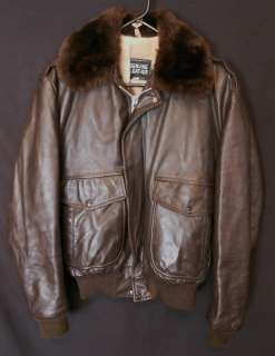 LEATHER FLIGHT JACKET STEERHIDE FAUX FUR LINER MILITARY STYLE 44